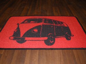 NON SLIP DOORMATS 50CMX80CM GEL BACKING TOP QUALITY CAMPER DESIGN RED/BLACK
